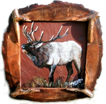 Elk acrylic painting on red roofing slate with natrual wood  log frame f