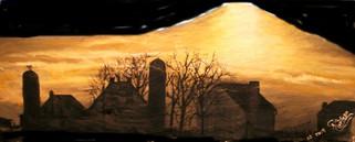 Amish farm scene at sunset