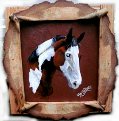 Tri colored pinto horse acrylic painting on red roofing slate with rustic natural log frame