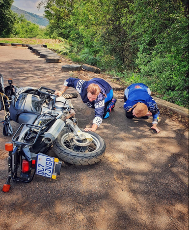 Checking the bike's in gear