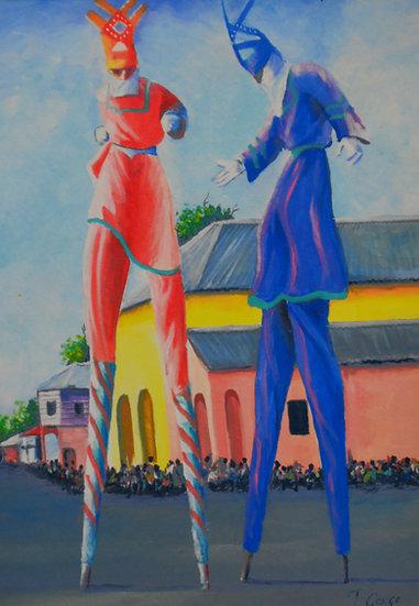 Blue and Red Moko Jumbies