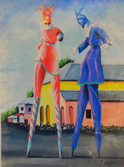 Blue and Red Moko Jumbie
