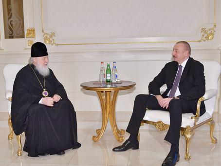 Prezident İlham Əliyev Moskvanın və bütün Rusiyanın Patriarxı Kirillə görüşüb