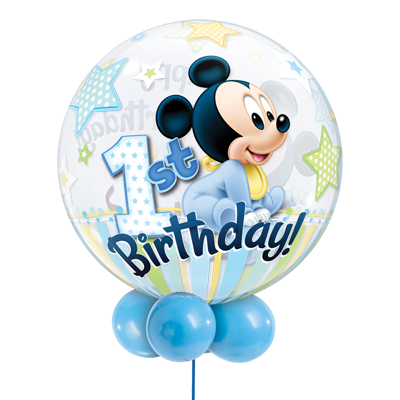 Disney Baby Mickey or Minnie Mouse 1st Birthday Bubble