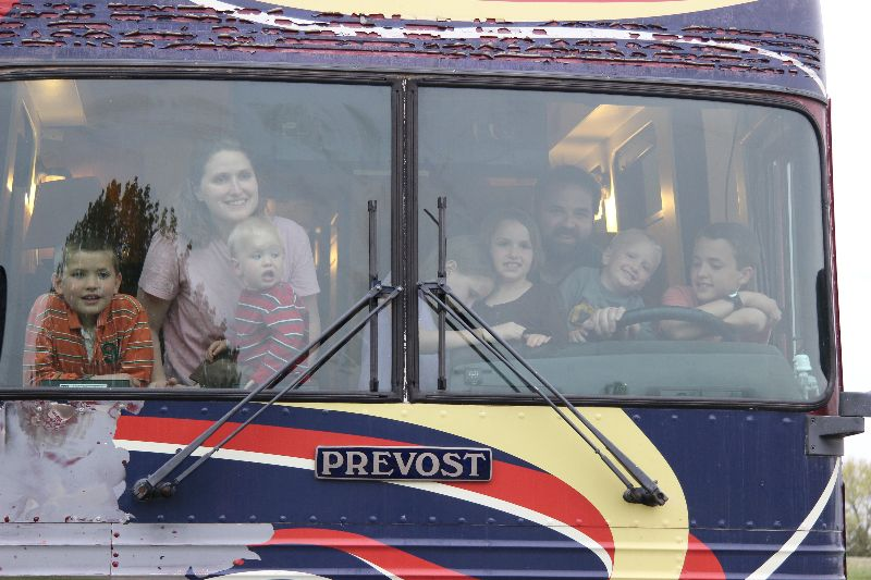 Thomas Family in Front of Bus
