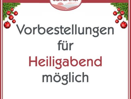 Heiligabend & Silvester: Online vorbestellen!