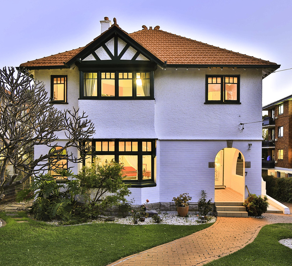 A two-story bungalow in the Arts and Crafts style