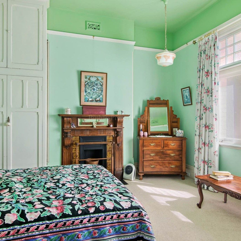 Bedroom with Edwardian timber fireplace surround