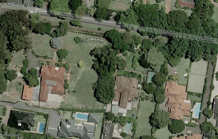 Burns Road Aerial view of 37-41 Burns Road