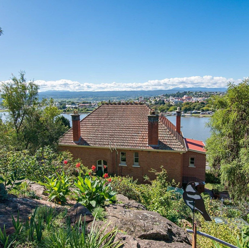 """View of the """"Captain's"""" house and its Tamar River lookout beyond"""