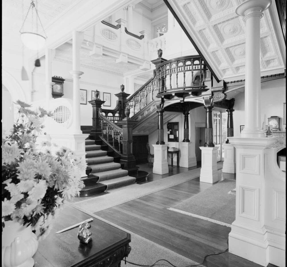 Lower stair-hall at Belltrees Homestead,