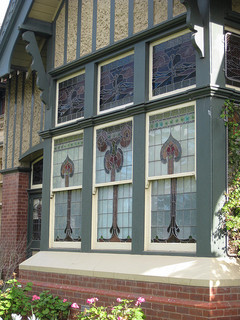North Park detail of Art Nouveau windows