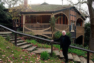 Architect Peter Crone outside his beloved Desbrowe-Annear home, Chadwick House in Eaglemont.