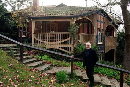 Peter Crone outside his beloved Desbrowe-Annear home, Chadwick House in Eaglemont