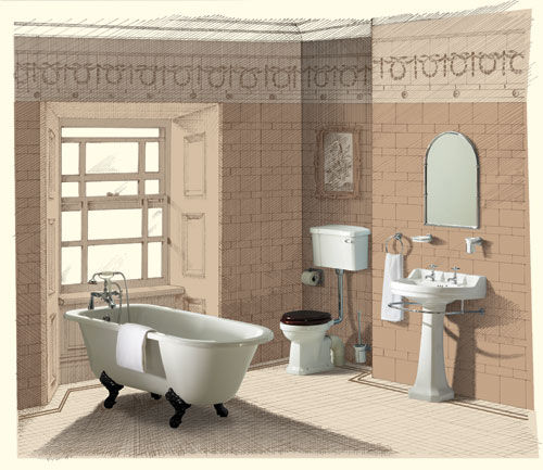 Burlington bathtub in traditional bathroom