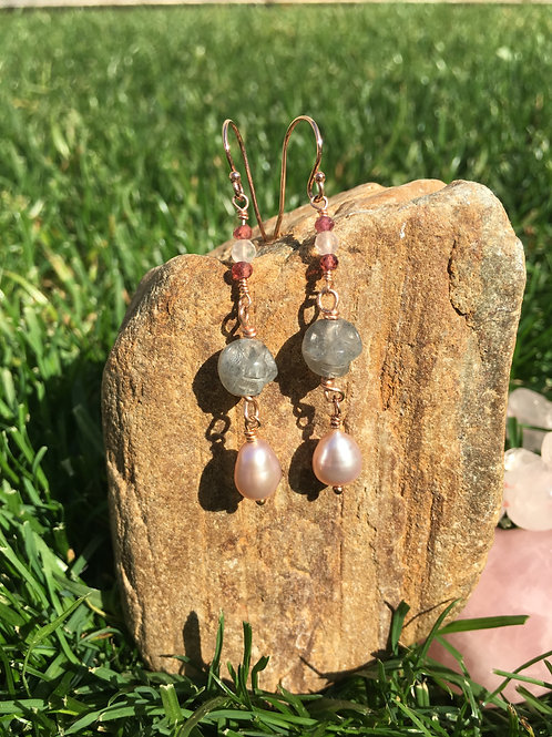 Lab and Pearl Earrings