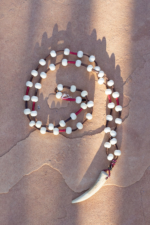 Camel Beads w/Bone on Leather