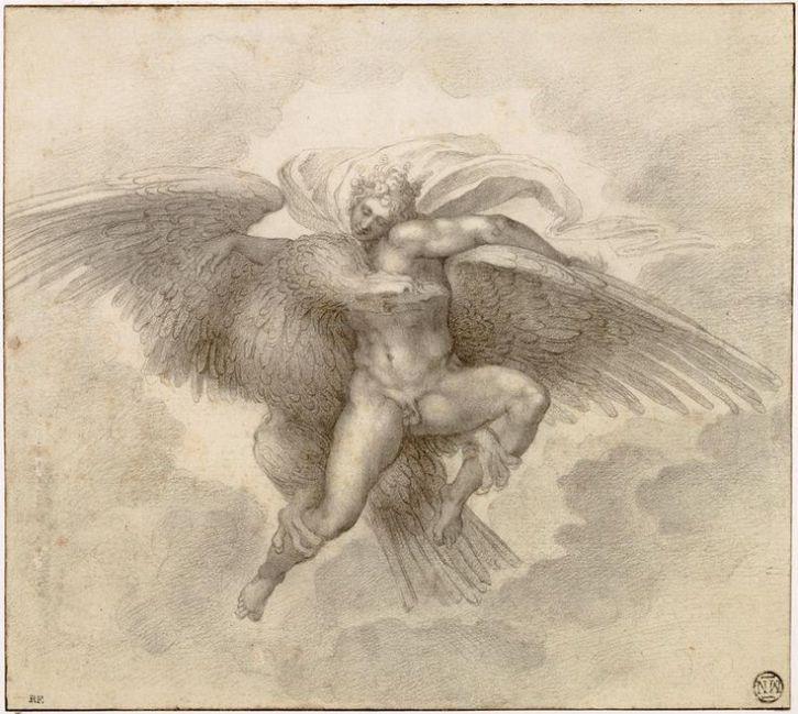 Ratto di Ganimede, 1532, disegno Michelangelo