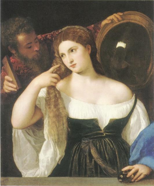 """""""Donna allo specchio"""" di Tiziano, 1515, Louvre, Parigi"""