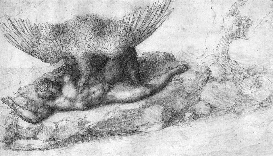 Punizione di Tizio, 1533, disegno Michelangelo