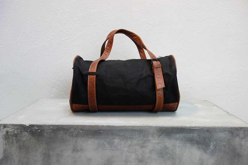 sportbag small *reclaimed leather & canvas*