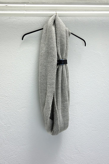 scarf wool with *reclaimed leather detail*