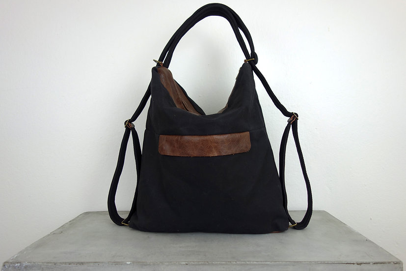 2in1 bag waxed canvas & *reclaimed leather*
