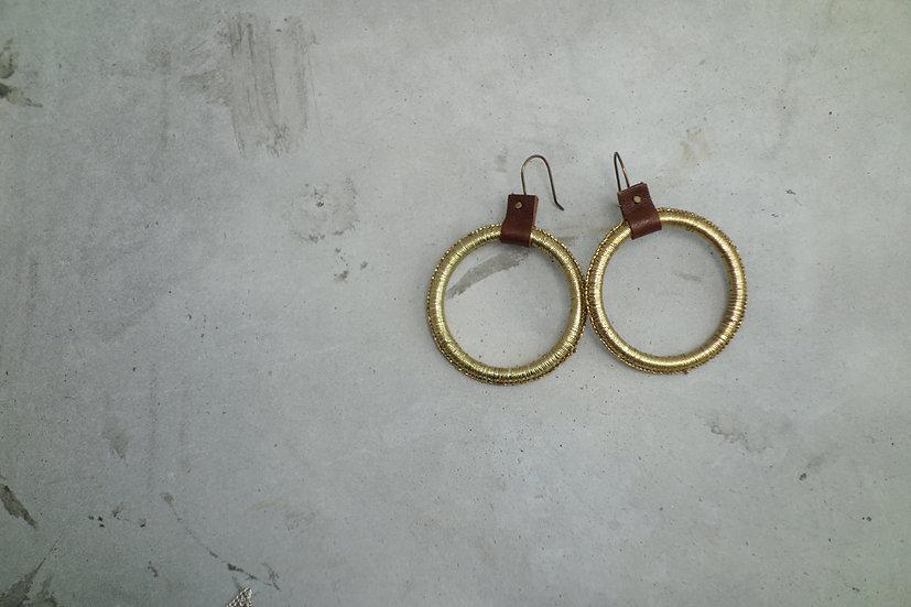 earrings *reclaimed leather & thread*