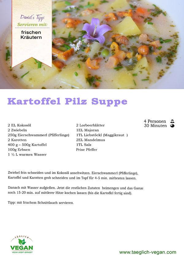 Kartoffel Pilz Suppe Vegan