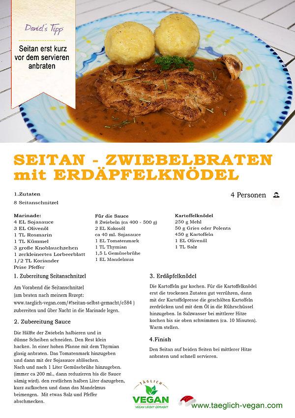 SEITAN ZWIEBELBRATEN mit Kartoffelknödel Vegan