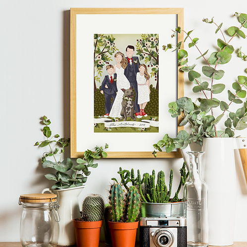Two 8 x 10 Custom Family Illustration Prints