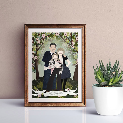 Two 5 x 7 Custom Family Illustration Prints