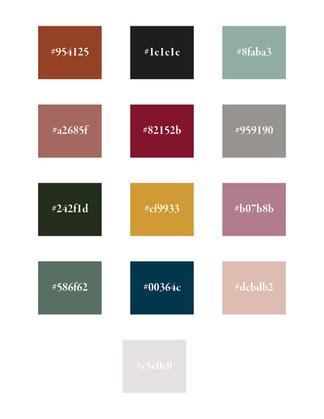 Emily Jane Inc Colour Palette