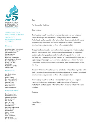 PG Community Foundation Letterhead Design