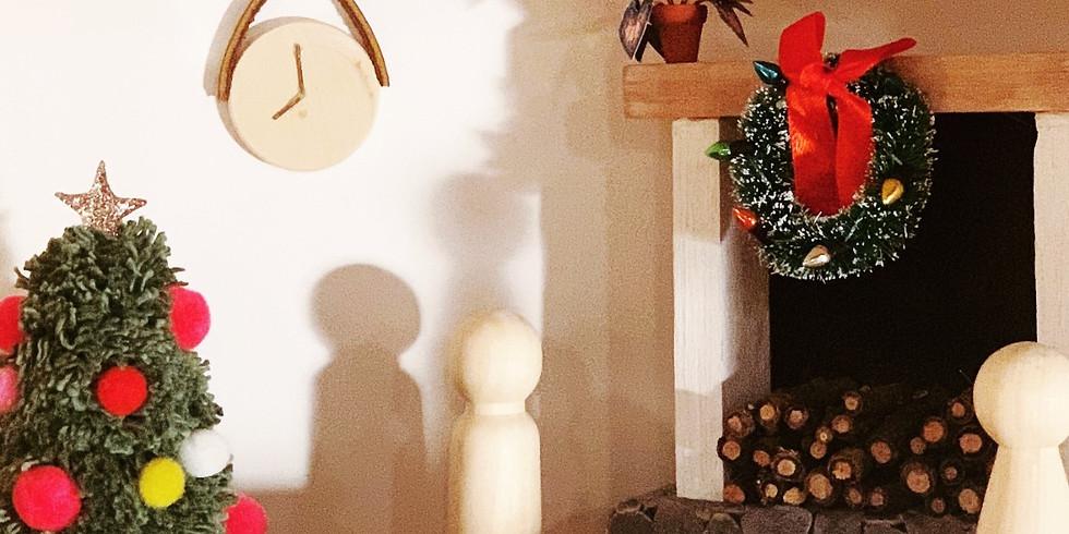 Dollhouse Club: Pom Pom Christmas Tree, Painting, Wallpaper