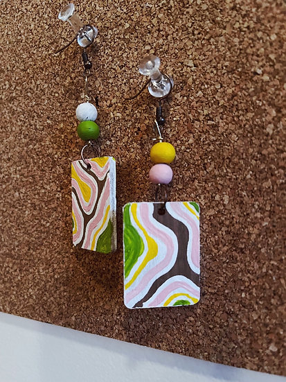 Painted Wood Earrings