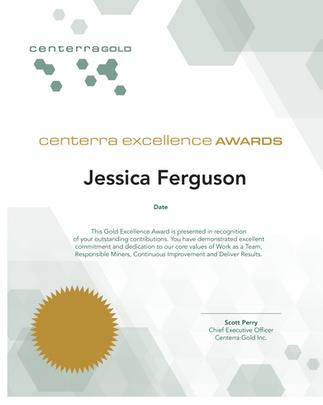 Centerra Gold Excellence Award Certificate