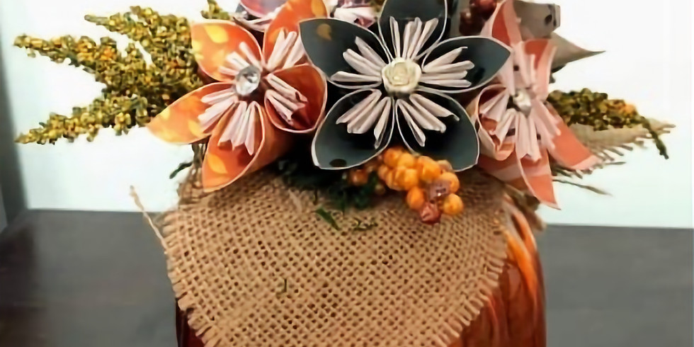 Glass Pumpkin Table Piece with Works of Heart