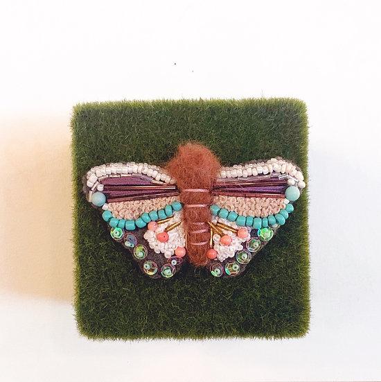 Beaded Moth Brooch