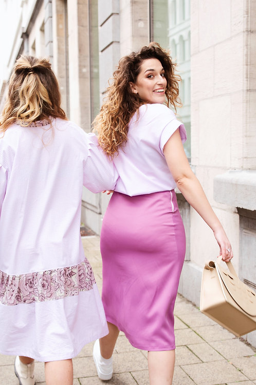 Dusty Pink Satin Skirt