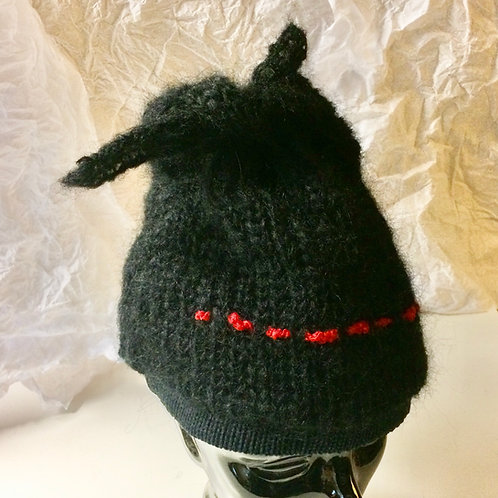 Mohair Knit Hat  -  Black/Red Stitching