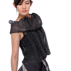 garment, knit with paper/silk yarn