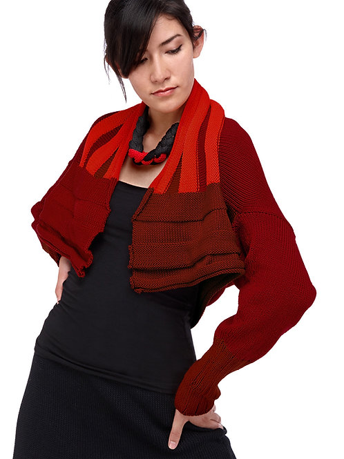 Invert-able Cotton Bolero  -  Red