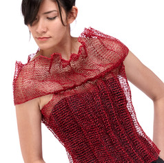 garment, knit with paper/silk yarn