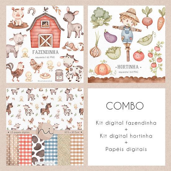 COMBO Fazendinha + Hortinha + Papéis digitais