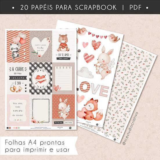 Com Amor   Papéis para Scrapbook A4