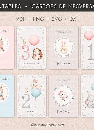 Pacote de Printables | Cartões de Mesversário