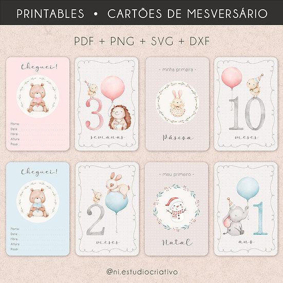 Pacote de Printables   Cartões de Mesversário