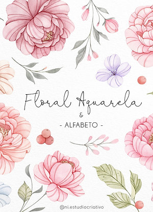 Kit Digital Floral Aquarela