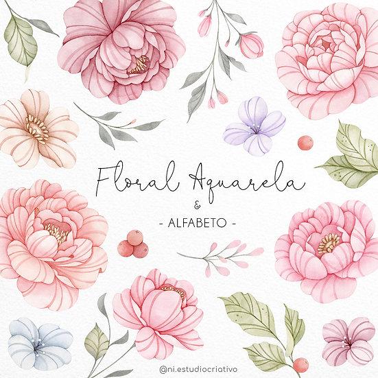 Kit Digital Floral Aquarela